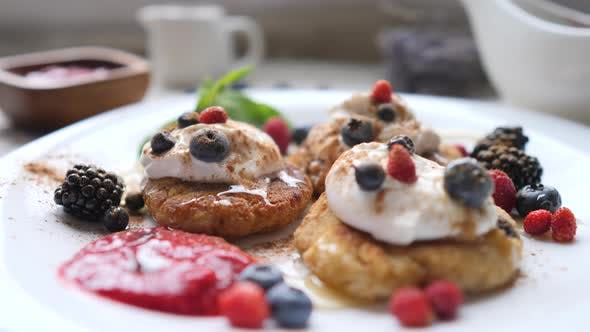 Thumbnail for Vegan Pancakes For Breakfast With Fresh Berries. Healthy Food Concept.