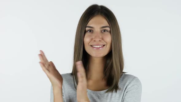 Thumbnail for Clapping, applause by Appreciating Girl, White Background in Studio