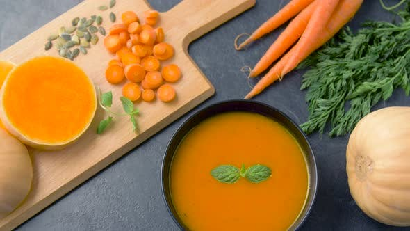 Thumbnail for Close Up of Vegetable Pumpkin Cream Soup in Bowl 12