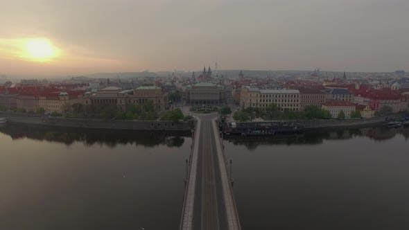 Thumbnail for Flying Over River To Jan Palach Square in Prague