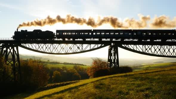 Thumbnail for Vintage Retro Steam Engine Train Crossing Railway