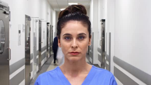 Thumbnail for Time lapse view of female doctor on the corridor