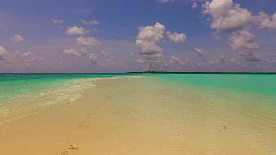 Thumbnail for Beautiful above abstract shot of a sandy white paradise beach and aqua turquoise water background in