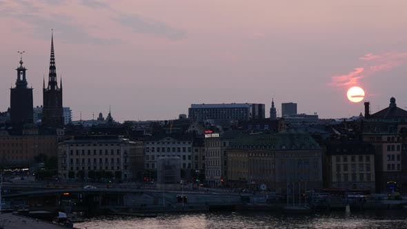 Thumbnail for Sunset time lapse from Gamla stan and ridderholmen islands in Stockholm