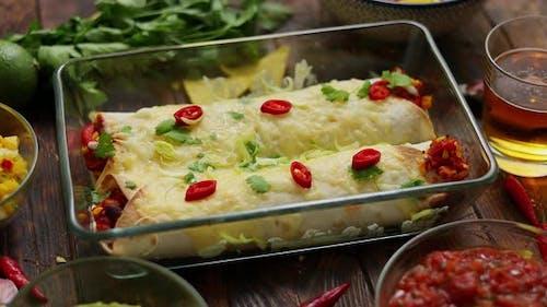 Vegetable Burritos Served in Glass Heatproof Dish
