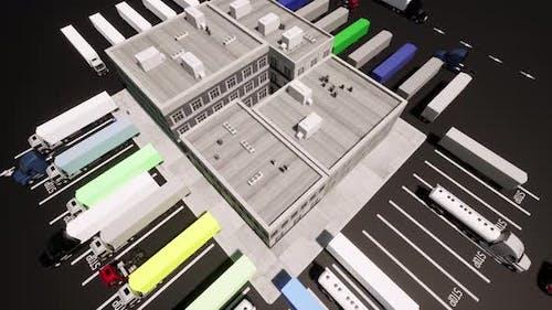 Large Logistics Park Logistic Transportation Concept Aerial Landscape
