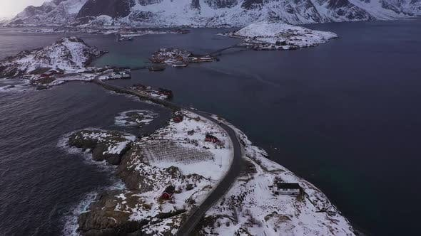 Fishing Villages and Mountains in Winter. Lofoten Islands, Norway. Aerial View