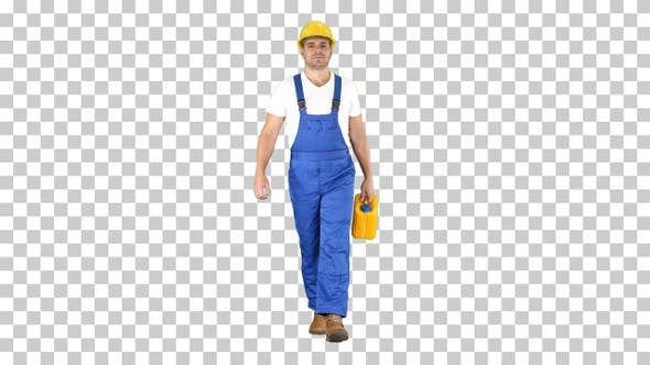 Thumbnail for Construction worker in hard hat holding plastic canister and