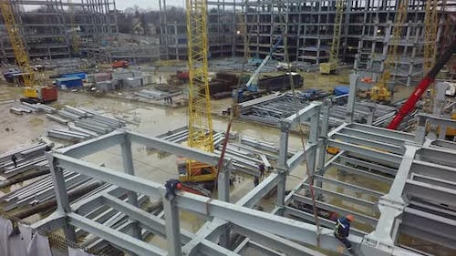 Steel Structures of Industrial Buildings at Construction Site, Aerial View