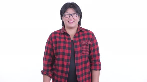Thumbnail for Happy Overweight Asian Hipster Woman Smiling