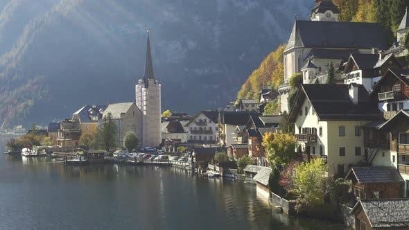 View Of Beautiful Austrian Mountains Village Hallstatt 11