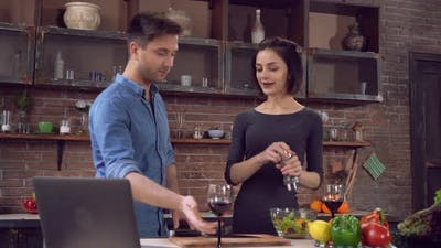 Male and Girl Cook Healthy Food with Happy Smile