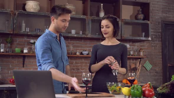 Thumbnail for Male and Girl Cook Healthy Food with Happy Smile