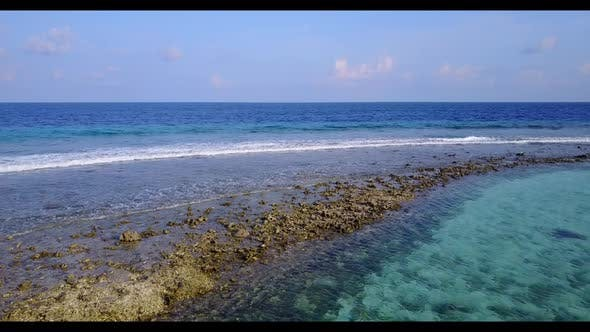 Thumbnail for Aerial panorama of tranquil bay beach adventure by transparent sea with white sandy background of a