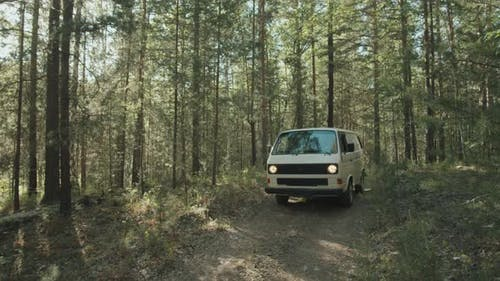 Woman Driving Camper Van in Forest