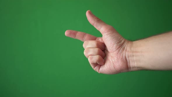 Thumbnail for Close Up Hand Of Man Gesture Isolated On Chroma Key Green Screen Background