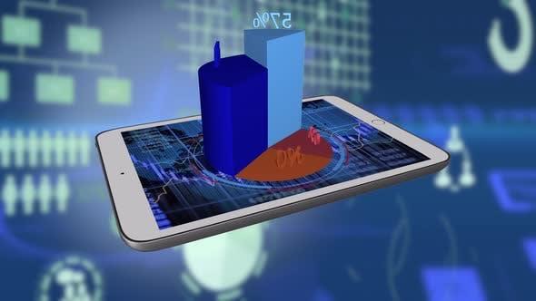 Thumbnail for Tablet Computer Screen Showing Sales Data Charts Diagrams