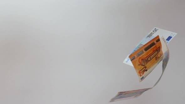 Thumbnail for Rain of Euro Banknotes. Euro Banknotes Are Falling in Slow Motion Against White Background.