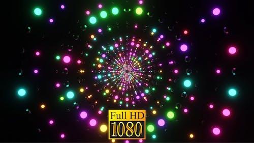 Ring Tunnel Of Shimmering Neon Balls HD