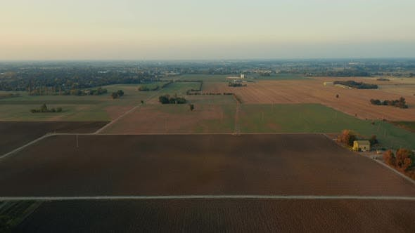 Aerial view of Italian north land at sunset sky