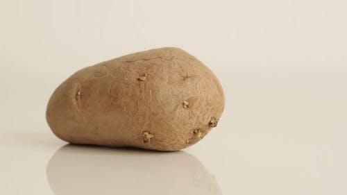 Langsame Neigung über Bio-Kartoffel auf weißem Hintergrund 4K 2160p 30fps UltraHD-Filmmaterial - Mehrjährige Nacht