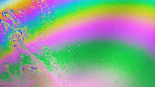 Thumbnail for Bubbles Swirling in Rainbow Liquid Colors. Dreamy Hypnotic Abstract Background