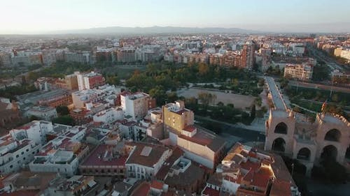 Aerial View of Valencia with Architecture and Green Parks