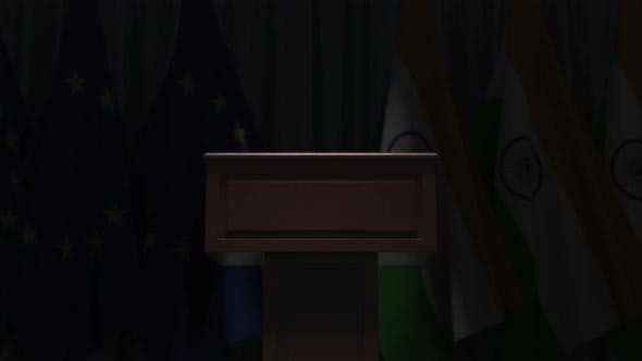 Row of Flags of India and the European Union
