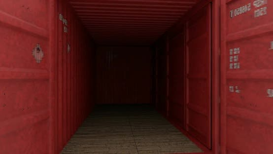 Cover Image for Seamless Move Thru Shipping Containers with Doors Opening on White Background