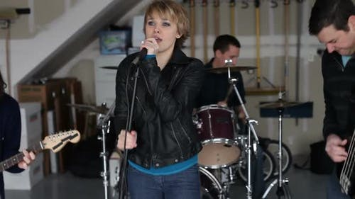 Band practices in garage