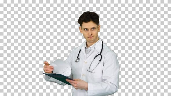 Thumbnail for Angry Male Doctor Looking at Documents, Alpha Channel