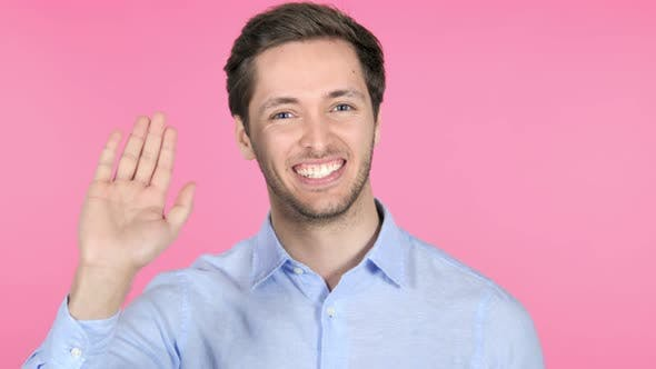 Thumbnail for Hello, Waving Hand to Welcome on Pink Background