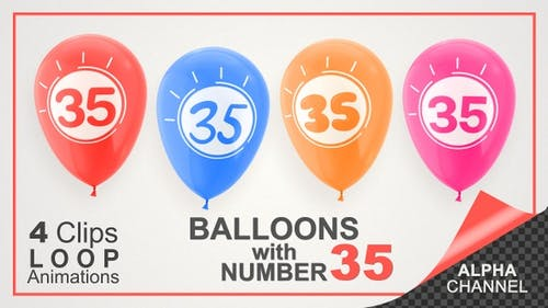 Balloons With Number 35 / Happy Thirty-Five Years Old