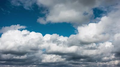 Summer Bright Blue Sky with Clouds