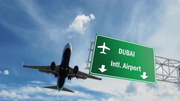 Airport Sign. Dubai Airplane Passing Overhead