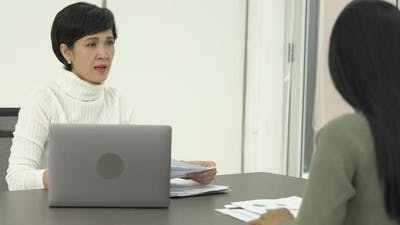 Businesswoman pressured disappointed to employee female