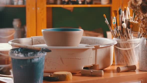 Thumbnail for Pottery - Clay Bowl Is Rotating on a Potter's Wheel