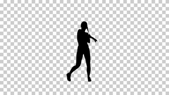 Silhouette R'n'B girl walking dancing, Alpha Channel