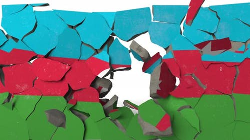 Crushing Concrete Wall with Flag of Azerbaijan