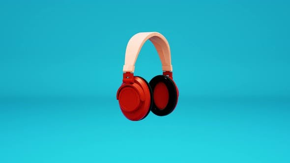 Beautiful animation of 3D headphones on a blue background