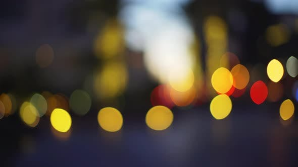 Thumbnail for Panning glowing traffic bokeh clustered for green screen
