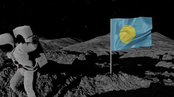 Thumbnail for Astronaut Planting Palau Flag on the Moon