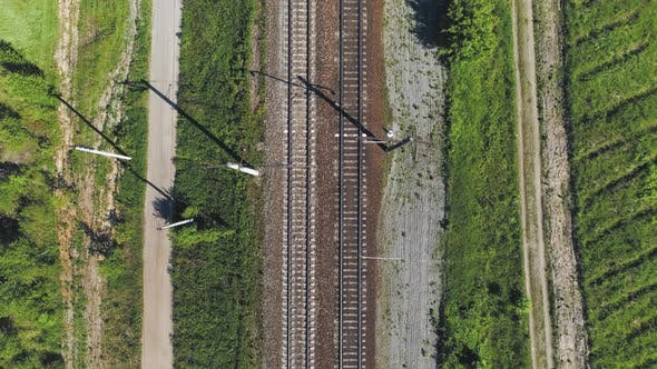 Thumbnail for Electrified Railway Track. The Camera Moves Along the Rail Direction.
