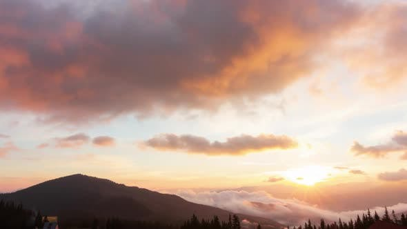 Romantic Colorful Sunrise at the Mountains