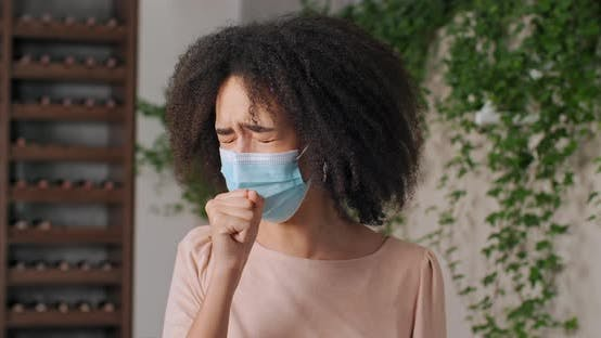 Portrait of Afro American Woman Young Girl in Facial Mask Medical Protect From Virus Epidemic
