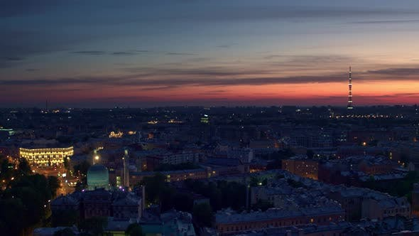 Thumbnail for Night Flight Over St. Petersburg Overlooking The Historic Part Of The City