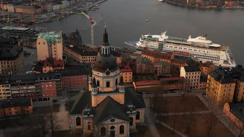 Aerial Tilt Down Footage of Church of Catherine