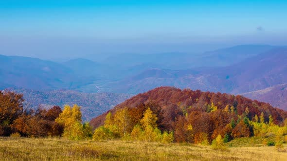 Golden Autumn. Morning in the Mountains