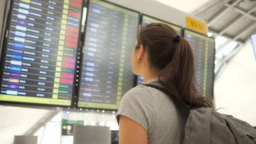 Brunette Looks at Departures Schedule in Airport Terminal