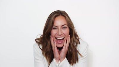 Surprised Businesswoman Smiling